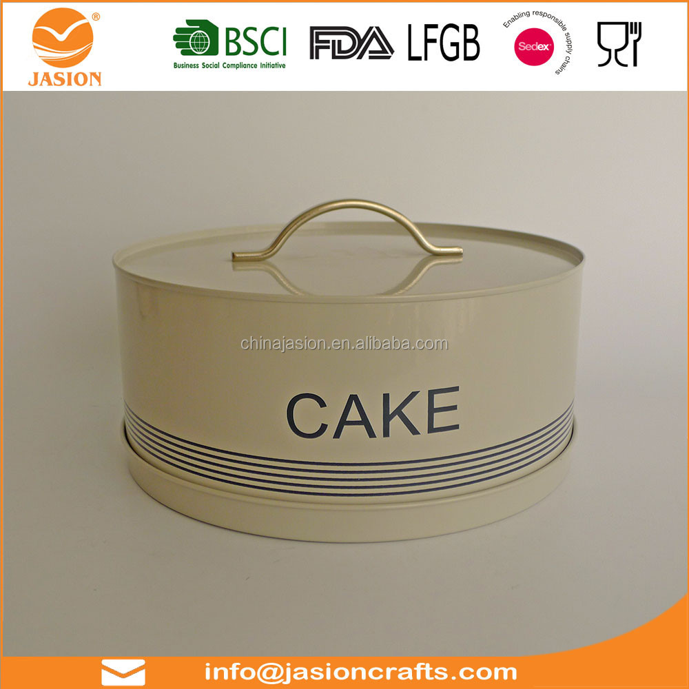 cake storage bin metal container metal jar tin can steel bin