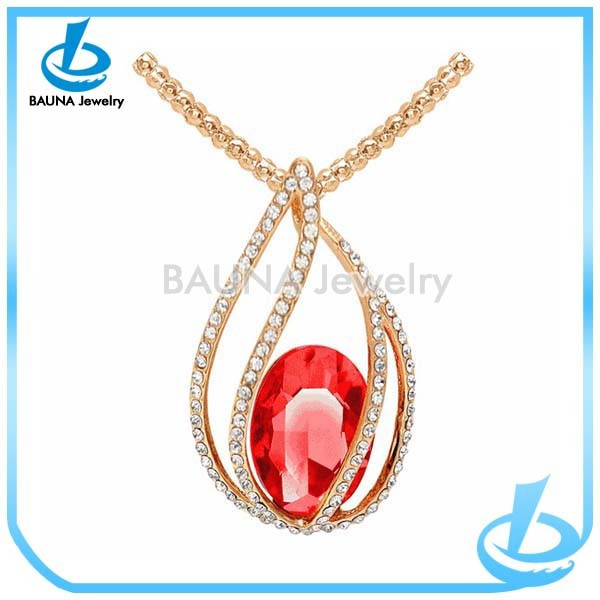 Europe gold plated ruby embellished rhinestone pave hollow water drop pendant necklace