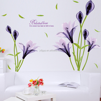 Hot sales custom creative bedroom sofa backdrop removable Purple Eustoma Flower wall stickers