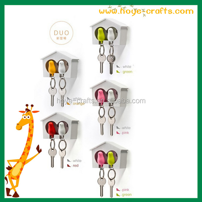 wholesale wall decoration double bird keychain with whistle
