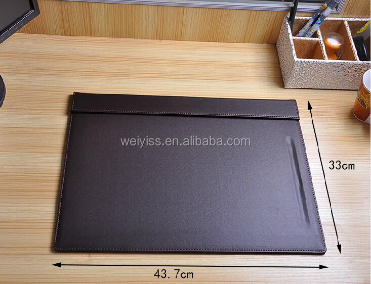 Black Leather Desk Pad with Pen Groove on Sale