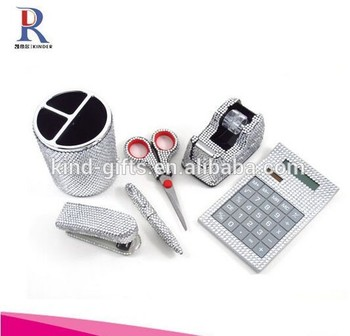 6 pieces Office Supply Set: Pen Holder, Scissors, Calculator, Pen, Tape Dispenser & Stapler
