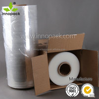 Recycled polyethylene plastic stretch film on roll