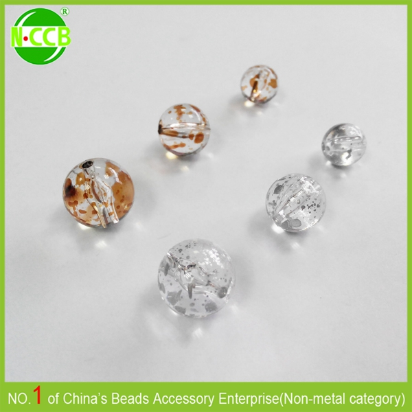 High quality Spray painted clear Acrylic round beads accessory jewelry for shoes