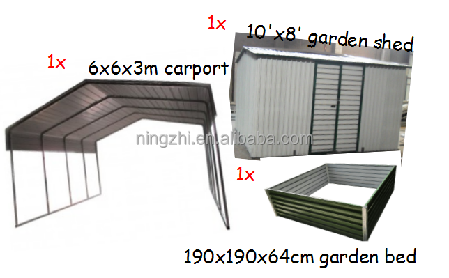 Combined Sale for 1xcarport,1xgarden shed,1x garden bed factory direct shipping