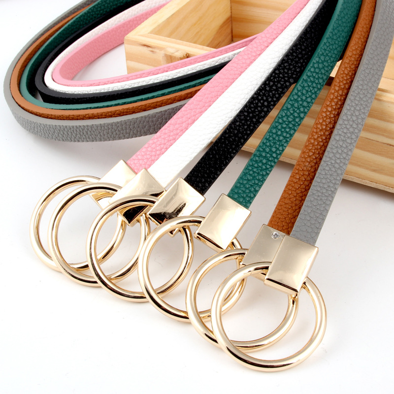 hot sell fashinable pu leather gold skinny belt for women