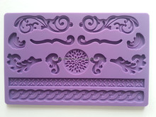 FD-008 POP silicone fondant mold cake decorating stencils