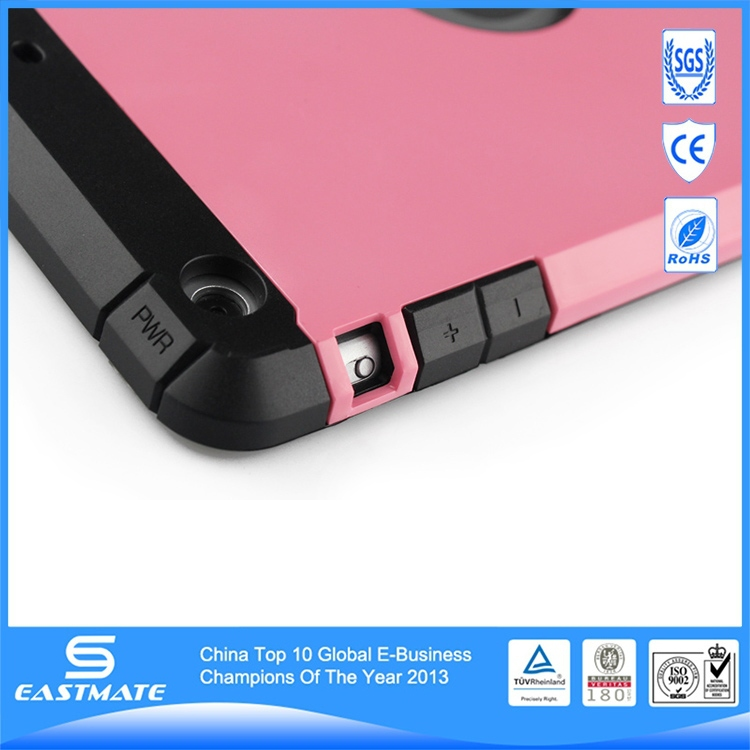 Hybrid combo holster plastic material case for ipad mini standing case