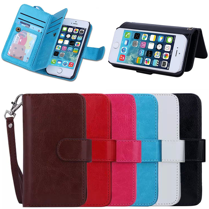 Magnetic wallet phone case for iphone 5, for iphone 5 case with 9-card slots wallet