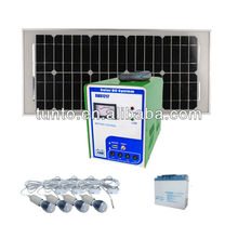 Renewable energy ,small home solar system 20W solar panel+3W white LED+USB Set ,optional accessories