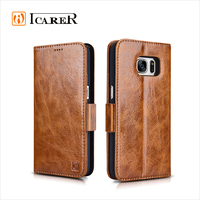 ICARER Genuine Leather Cell Phone Case For Samsung Galaxy S7 Wallet Style Cover with Stand and Card Slots