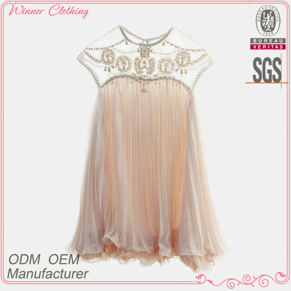 High fashion beaded design women's clothing garment apparel direct factory OEM/ODM manufacturing flower girl dress patterns