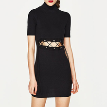 black sexy dress with latest lace-up at waist short sleeve cotton