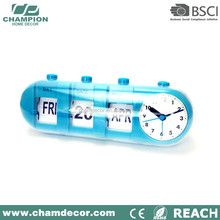 Modern Orange Decorative Plastic Flip Calendar Table Clock