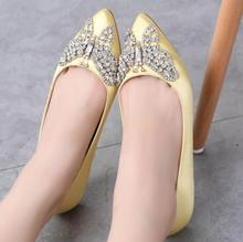 LM5772Q big size Rhinestone butterfly pointed shoes flat-heel satin wedding shoes