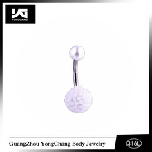 Sparkle Top Balls and White Imitation Pearls Balls Belly Ring Sample Free,316L Stainless Steel Belly Button Piercing For Sale