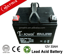 high power 12V 33ah low self-discharge VRLA non-spillable sealed mf lead acid battery for ups system