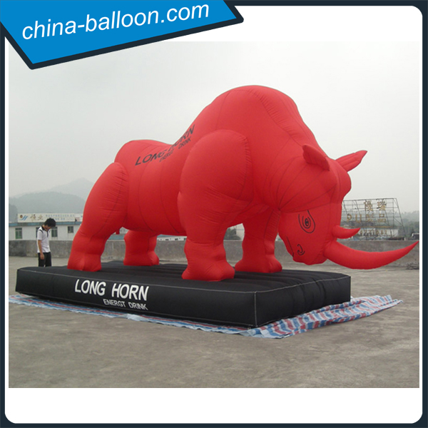 Factory Price Red Inflatable Rhino With Long Horn For Brand Advertising