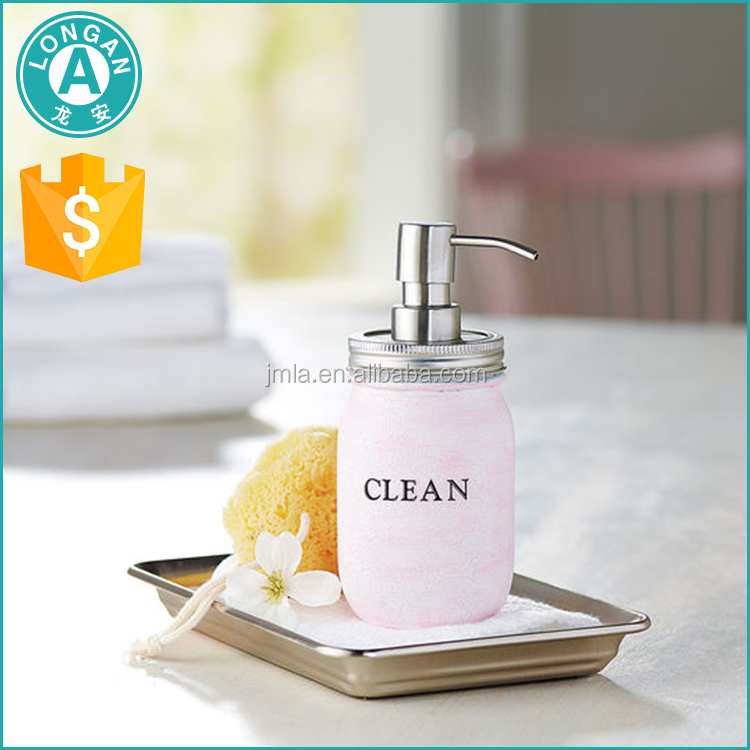 Jiangmen hotel bath oil soap bottle pump lid glass mason jars wholesale