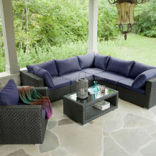 Good quality outdoor patio pe wicker L shaped rattan modern furniture sofa