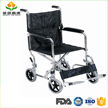 Lightweight foldable backrest chromed steel chair fixed footrest wheelchair for cerebral palsy