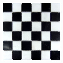 Square Black and white china marble stone, Polished Marble mosaic tile