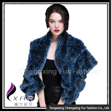 CX-B-21B Alibaba Supplier Knitted Rabbit Fur Poncho Sale