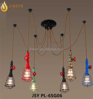 Water pipe spider lighting lamp multi-head pendant light