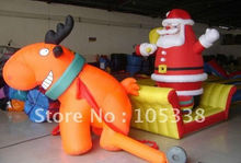 Santa&Deer,Christmas Inflatable, advertising for X-mas,promotion displayer, +blower, wholesale/retail, factory price