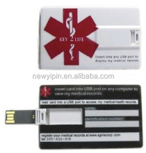 Credit Card Style Medical Alert ID EMR Flash USB EHR (Electronic Health Records)