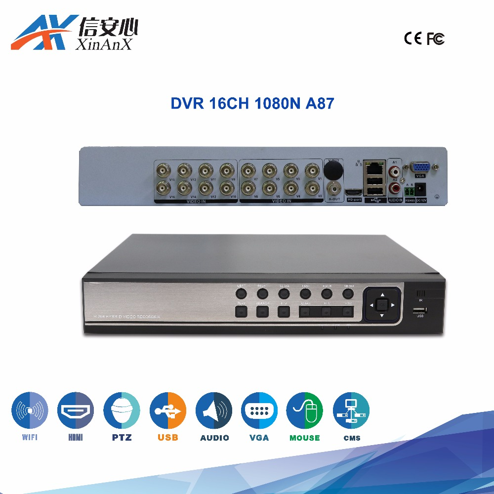 High quality Private panel 1080N 16channel 2 harddisk hybird 6in1 cctv dvr with fcc ce home security system