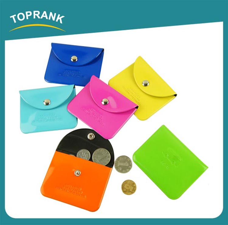 Toprank Promotional Cheap Fancy Colorful Foldable Coin Pouch Travel Wallets PVC Custom Coin Purse