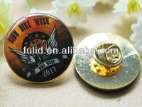 round epoxy souvenir metal emblem with pin