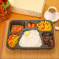 6 Compartment Plastic Food Container,Bento Lunch Box with Dividers,microwave safe food container
