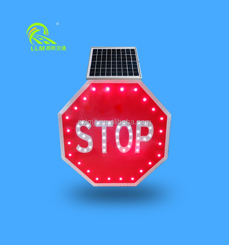 Top quality IP65 waterproof octagon solar LED flashing outdoor traffic stop signs