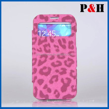 2015 new leopard print leather case for Samsung S5 with window,case for samsung galaxy s5