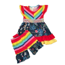 Little Girls Summer Rainbow Bright Color Tutu Dress Ruffle Shorts Boutique Outfits 2pcs Smocked Clothes Set Wholesale Casual Set