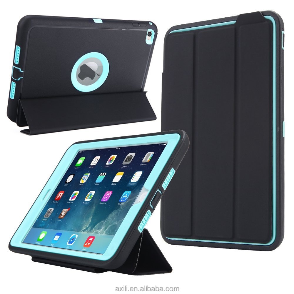 For iPad mini 4 Case Cover Retina Kids Safe Armor Shockproof Heavy Duty Silicone Sleeping Hard Case
