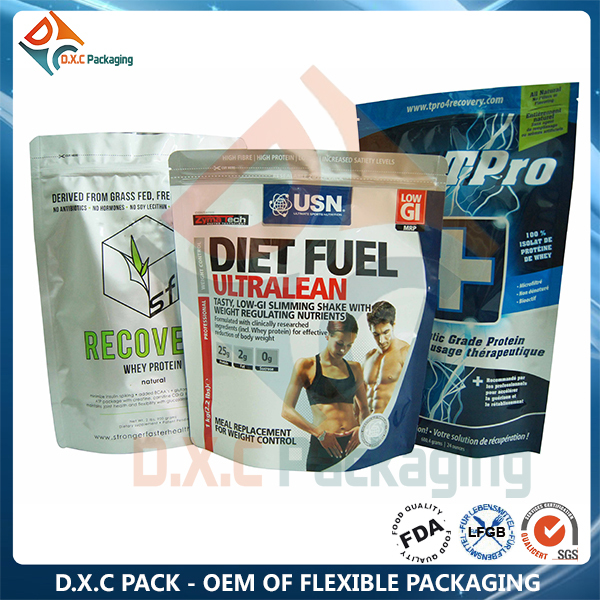 Resealable Food Grade Plastic Bags Stand Up Pouch For Protein Powder