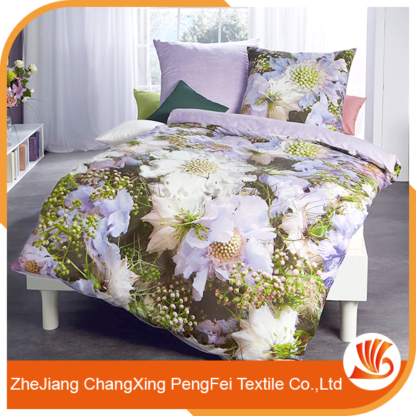 Custom recycled polyester 3d bed cover set fabric designs for household
