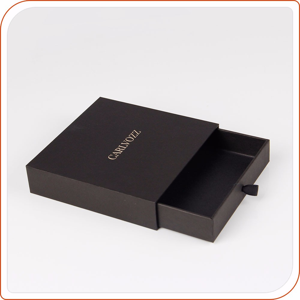 Luxury sliding t shirt paper gift packaging box with drawer