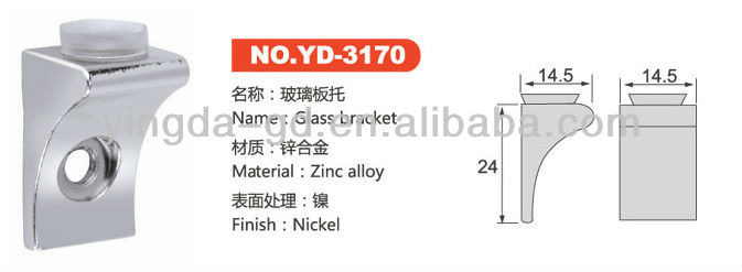 YD-3170 12.6g Big right angle Glass shelf support pins glass button furniture fittings from glass shelf supports factory
