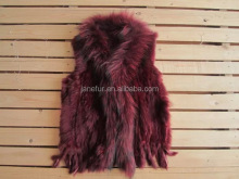 Hot sale hand knitted leather jacket raccoon collar rabbit fur vest