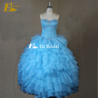 Real Sample Beased Top Ruffled Turquoise Quinceanera Dresses Ball Gown With Jacket