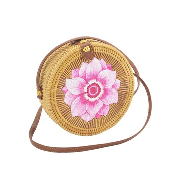 Custom Print Woven Rattan Women Shoulder Handbags Flower Crossbody Bag