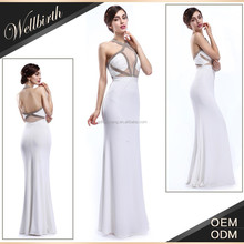 Hot sale senior hand-made gorgeous white chiffon open breast dress