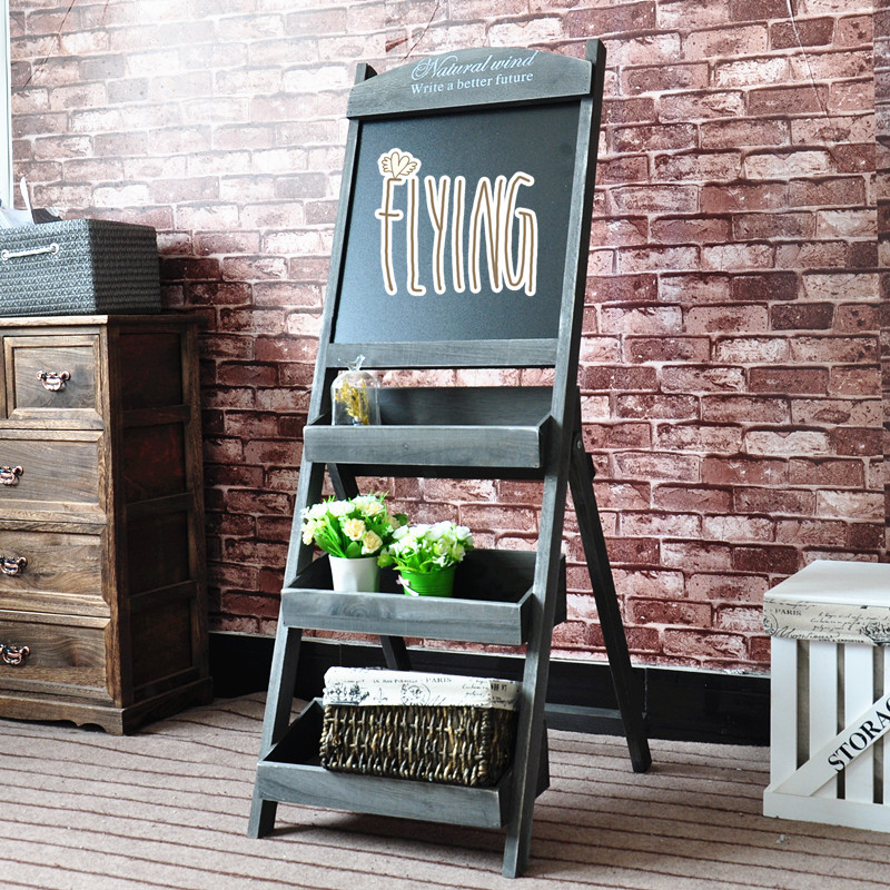 Rustic style standed wooden chalkboard with flower <strong>stand</strong>