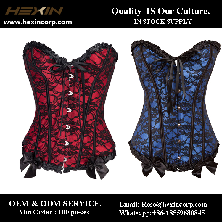 Hexin wholesale big stock lace up bustier front lace up corset