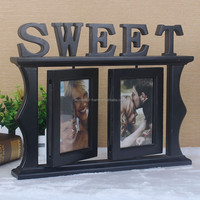 Rotatable photos window shape big MDF and wood material frame