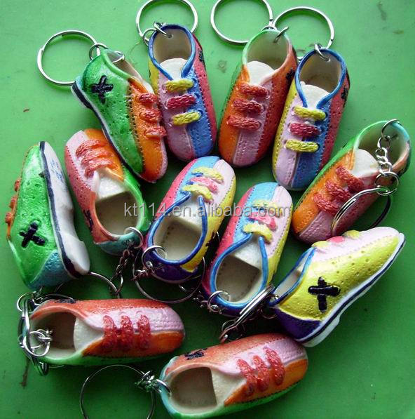 combined color bowling shoes keychain